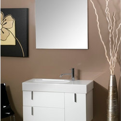 Iotti - 35 Inch Bathroom Vanity Set - A neat combination of drawers and a door for storage gives this vanity set a stylish way to stay neat and work hard for you. Available in Glossy White, Glossy Black and Glossy Gray finishes, the sleek design is reinforced with E1 Ecological panel construction. The fitted white ceramic sink basin is offset and offers plenty of room for toiletries. Twin drawers and a door hold ample storage. The glistening mirror is scratch and corrosion resistant. Made in Italy. Set Includes: . Vanity Cabinet (2 drawers, 1 door). Fitted ceramic sink (35.4 inch x 14.2 inch ). Mirror (30.4 inch x 27.7 inch ). Vanity Light (11.8 inch ). Vanity Set Features:. Vanity cabinet made of engineered wood. Cabinet features waterproof panels. Available in Glossy White (as shown), Glossy Gray, Glossy Black. Cabinet features 2 soft-closing drawers, 1 door. Faucet not included. Perfect for modern bathrooms. Made and designed in Italy. Includes manufacturer 5 year warranty.