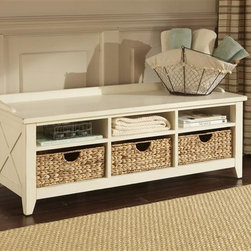 Liberty Furniture - Liberty Furniture Hearthstone Cubby Storage Bench in Rustic White Finish - Everyone is drawn to the past  a simpler time  a simpler way of life.  Americana draws it's inspiration from the past with a true and honest design.  With vintage appeal  Hearthstone is a casual  rustic style that never goes out of fashion. Elements of shaker and craftsman designs are combined with a rustic oak finish. A great occasion addition  the hall tree is perfect in the entryway of the home and provides storage for coats and hats. This one incorporates a bench with storage underneath for shoes or gloves. A Full length mirror is accented with an x top motif and heavy crown molding. The storage box features planked fronts and a self closing hinge lid.Collection Features: Hook Hardware in Antique Brass FinishFull Length Mirror with X Top MotifStorage Box with Lift Lid/Self Closing HingeFully Finished InteriorAntique Brass Knob HardwareTop Cubby StorageMetal Coat Hangers on the Back PanelReturn Crown MoldingTapered FeetFull Extension Metal Side Drawer GlidesEnglish Dovetail ConstructionPewter Knob Hardware