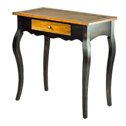 Safavieh - Safavieh Cooper 30x16 Side Table in Light Brown & Black - Feminine and graceful, the Cooper side table isn't fussy at all. A top and drawer front in a warm, contrast color, sweet scalloped tabletop support and lovely diagonal carvings on the top lend Cooper a relaxed vibe. Minor assembly required. What's included: Side Table (1).