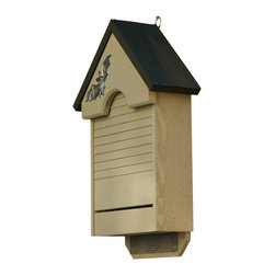 Heartwood - Bat Haven Bat House Smoke Grey - This  uniquely  crafted  bat  house  is  warm,  watertight  and  made  with  a  corrugated  wood  roof.  Equipped  with  two  mesh-covered  living  quarters  and  a  bottom  landing  pad,  this  house  has  room  to  house  up  to  48  of  your  flying  friends.  The  metal  bat  applique  gives  a  cheery  welcome  and  great  accent.          Product  Details:                  5x14x22              Handcrafted  in  USA  from  renewable,  FSC  certified  wood