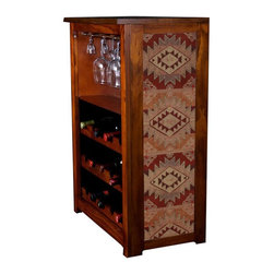 """Kelseys Collection - Wine Cabinet 15 bottle Santa Fe Sunset - Kelsey's Wine Storage Cabinet showcases wine and glassware in solid  pine.This Southwest Art Style fabric pattern called """"Santa Fe Sunset"""" was discovered at a fabric store and when we saw it we immediately added it to our collection.  The designer fabric has its origins in Aztec or their predecessor, the  Zapoteca,  textile weave patterns.  . The frame, top, and racks are solid New Zealand radiata pine with a hand stained and hand rubbed rubbed medium reddish brown finish, that is then protected with a  lacquer coat and top coat..  The overall dimensions are 33  by 22  by 11.5  Net weight 20# Three racks each holding 5 bottles.  Shelf, and stemware holder.  Estimated assembly time   20 minutes subject matter - Aztec Textiles Kelseys Collection is where """"Great Art & Function Meet"""" We ship out in 48 hours or less."""
