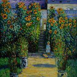 """overstockArt.com - Monet - Artist's Garden at Vetheuil - 30"""" X 40"""" Oil Painting On Canvas Hand painted oil reproduction of a famous Monet painting, Artist's Garden at Vetheuil . The original masterpiece was created in 1881. Today it has been carefully recreated detail-by-detail, color-by-color to near perfection. Why settle for a print when you can add sophistication to your rooms with a beautiful fine gallery reproduction oil painting? While Monet successfully captured life's reality in many of his works, his aim was to analyze the ever-changing nature of color and light. Known as the classic Impressionist, Monet cannot help but inspire deep admiration for his talent in those who view his work. This work of art has the same emotions and beauty as the original. Why not grace your home with this reproduced masterpiece? It is sure to bring many admirers!"""
