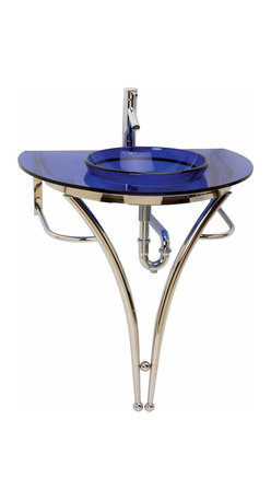 Renovators Supply - Glass Sinks Glass/Stainless Cosmo Glass Pedestal Sink - Glass Sinks: the Blue Cosmopolitan tempered glass pedestal sink package comes complete with faucet, drain, and p-trap.