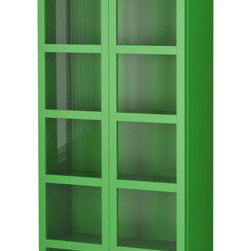BILLY Bookcase With Glass Doors - This glassed-in bookcase would help out our baby-proofing efforts, and it's such a fun hit of color for the living room.