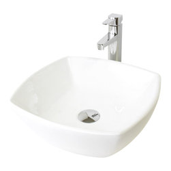 """TCS Home Supplies - White / Black Porcelain Ceramic Countertop Bathroom Vessel Sink - Bathroom Vessel Sink. Porcelain Ceramic. Compatible with Vessel Filler and Wall-Mount Faucets. Available in White and Black Color. Exterior Dimensions 16-1/2"""" x 16-1/2"""". Interior Dimensions 16"""" x 16"""". Depth 5-3/8""""."""
