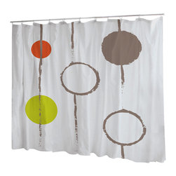 Uneekee - Uneekee Circles Shower Curtain - Your shower will start singing to you and thanking you for such a glorious burst of design as you start your day!  Full printing on the front and white on the back.  Buttonhole openings for shower rings.