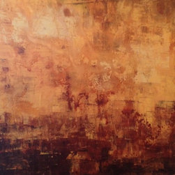 """""""Golden Warmth"""" Artwork - This is a large warm, Golden and Brown piece. It is has layers and unique texture.  It is full of light with browns and yellow/creme contrasting each other. It is a stretched canvas with gallery painted sides so there is not need for framing if so desired."""