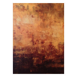 Golden Warmth, Original, Painting - This is a large warm, Golden and Brown piece. It is has layers and unique texture.  It is full of light with browns and yellow/creme contrasting each other. It is a stretched canvas with gallery painted sides so there is not need for framing if so desired.