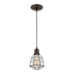 Savoy House Lighting - Savoy House 7-4130-1-13 Vintage Pendant 1 Light Mini Pendant, English Bronze - These sleek Savoy House mini pendants are vintage inspired with metal shades and cages.  Available in English Bronze and Satin Nickel.