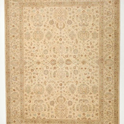 Rug Knots - Ivory Chobi Ziegler Oriental Wool Rug with Border 8.11x12.2 - Faded beauty is the theme of this antique-inspired rug. A neutral wash gives this rug muted elegance, and a soft and simple pattern adds intricacy and detail. The cool ivory-colored rug features splashes of red, blue, brown, and pink throughout. Husk and floral motifs are repeated in the rug's border and center for balance, and smaller elements frame these main design parts. This rug is made of 100% wool, meaning it will help retain a space's temperature and limit sound travel. The design was knotted by hand, making this piece truly one of a kind.