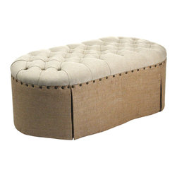 Kathy Kuo Home - French Country Round Oval Tufted Linen Burlap Skirted Ottoman - Stylish and earthy, this ottoman features a button-tufted, naturally-toned antique linen seat contrasted by a burlap skirt with fully-seamed pleating and antique bronze tack detailing.  Supported by a solid wood core, it can function as a seat of its own or be used to put your feet up in any rustic, traditional or French country home.  It makes a perfect companion to the 3 Seater Skirted Sofa.
