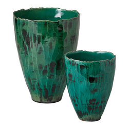 Studio A - Esmeralda Vase - Large - Large in scale and deep in hue, the Esmeralda Vase exhibits the rich colors of the Mediterranean coastal waters. The reactive glaze on porcelain causes the coloration of each piece to uniquely vary. Each size sold separately.