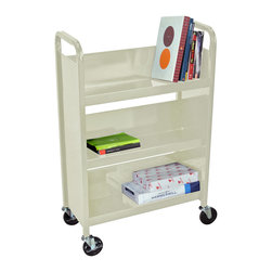 """Luxor - Luxor Book Truck - BT3S27-P - Luxor's book truck series are constructed of 18 gauge steel with a powder coat paint finish. Includes 4"""" quiet and easy rolling ball bearing casters. All shelves have a 10 degree tilt and 10 1/2"""" clearance between. Each shelf is 9 1/2"""" in depth."""