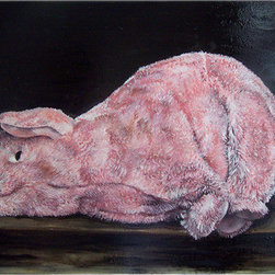 Pig (Original) by Christine Sauerteig-Pilaar - One of my favorites. This came from a Zuburan piece, which shows a slaughtered lamb with a halo, but all I had was a pig. Again, it is my nod to the old masters, the dark background, the lighting, but with the whimsy of the added culture warp, with using the materials of my life. I find this to be very successful.