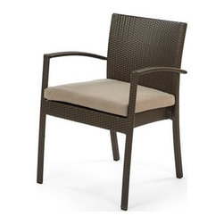 Caluco - Caluco Gracia Wicker Dining Arm Chair - Founded in 2003 Caluco is a family owned and operated business with an emphasis on quality and value. With your choice of fabrics available to compliment your home and patio the finishes unobtrusively compliment the lines of the furniture itself. Solidly built your Caluco patio furniture will provide lasting value to your outdoor leisure space. Collections include combinations of elegant cast and tubular aluminum pieces reminiscent of old world Europe as well as more modern wicker and teak selections. Easy to maintain with a humble elegance Caluco patio furniture will help turn your patio into a living space.  Features include Unique look of wicker furniture will add style and beauty to your outdoor setting Offered in wide variety of fabric options for cushions Super comfortable high quality cushions designed for extreme comfort Arm handles are offered for comfort and style. Specifications Wicker Finish: Sable Seat Height: 17 Arm Height: 25.