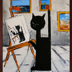 overstockArt.com - De Jiel - Black cat is painting Oil Painting - Black cat is painting is a beautiful painting of a cat, a motif Atelier De Jiel often uses in his paintings. Enjoy the beauty and color of this painting reproduced as a fine canvas print. Atelier De Jiel is a professional painter from French region Paca. He may be given the title of a conventional painter and often compared to close to the art of children, but this is mistaken. It's his child like approach and soul which he draws his energy, an essential source of his creative energy and universe. His paintings are never a perfect reproduction of reality and his focus is especially on playing with colors and contrast. Atelier's art can be found part of many private collections in France and throughout the world and he also exhibits in France and abroad.