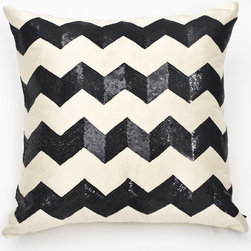 Ankasa - Deco Sequin Chevron Pillow - Features: -Deco collection. -Color: Ivory / Black. -4 Stripes of enlarged sequin chevron.