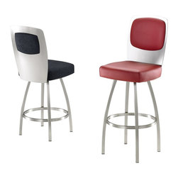 Trica - Trica Calvin Swivel Bar Stool - Brushed Steel - Trica Calvin Swivel Bar Stool - Brushed Steel - Trica bar stools offer a versatile and modern seating option for residential and commercial use. The stools are available in several styles, including backless, arm rest and silhouette designs, and come in a variety of metal finishes. Seat fabrics are available in over 100 colors and patterns, so you're sure to find the perfect match for your decor. The bar stools feature a heavy-gauge steel frame with durable welding joints for years of enjoyment. Trica bar stools are available in counter, bar and spectator seat heights to accommodate a variety of seating situations in the kitchen, dining room, bar or cafe.
