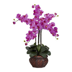 Nearly Natural - Phalaenopsis with Decorative Vase Polyester Flower Arrangement - Beautiful flowers year round without the hassle of remembering to water them can be yours with this gorgeous decorative vase. The polyester and plastic Phalaenopsis flower neatly 'growing' out of its rattan vase is sure to stand out in any room.