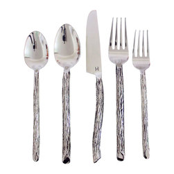 Kammika - Bark Flatware 5 PC Setting x 4 Place Sets Hand Made eco friendly Stainless Steel - Hand forged in a mold to simulate bark branches from highly durable 304 18/10 stainless steel by skilled artisans. Each piece is a work of art that will impress. Balanced for ease of use, yet solid in weight and feel - Stamped Haussmann Brand your Quality Assurance.