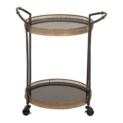 Benzara - Traditional and Lovely Style Metal Marble Tray Cart Home Decor - Description: