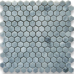 "Stone Center Corp - Carrara Marble Hexagon Mosaic Tile 1 inch Honed - Carrara white marble 1"" (from point to point) hexagon pieces mounted on 12"" x 12"" mesh tile sheet"