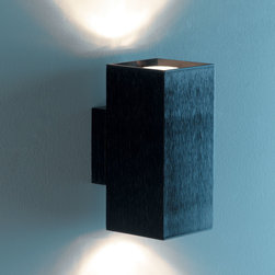 Lightology Collection - Dau Double Wall Sconce - Dau Double wall sconce features a cube shaped fixture with a black finish. Also available in single wall sconce or single and three light ceiling version. Two 75 watt, 120 volt, G9 halogen lamp, included. Upward/downward light distribution. Listing pending. ADA compliant. Made in Spain.