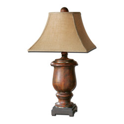 Uttermost - Uttermost Kezia Lamp w/ Coarse Weave Burlap Fabric Shade - Lamp w/ Coarse Weave Burlap Fabric Shade belongs to Kezia Collection by Uttermost Distressed cinnamon colored wood finished in a light verdigris glaze with champagne silver accents. The round top, square bottom shade is a coarse weave burlap fabric. Lamp (1)