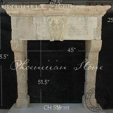 Mediterranean Indoor Fireplaces by Phoenician Stone