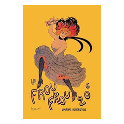 """Buyenlarge.com, Inc. - Le Frou Frou - Paper Poster 12"""" x 18"""" - Leonetto Cappiello (9. April 1875 in Livorno, Italy ? 2. February 1942 in Cannes, France) was an Italian poster art designer who lived in Paris. He is now often called 'the father of modern advertising' because of his innovation in poster design.  Le Frou Frou, journal humoristique, 20 centimes. Advertising poster by Leonetto Cappiello shows a can-can dancer holding a copy of """"Le Frou Frou"""" while she dances."""