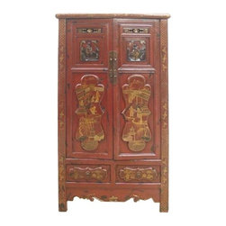 Golden Lotus - Red Chinese Antique Gold Flower Painting Carving Armoire Cabinet - Look at this Chinese antique armoire which is made of solid elm wood.  The front of cabinet has original flower gold painting and carving on it.  It should be gorgeous to decorate your house.