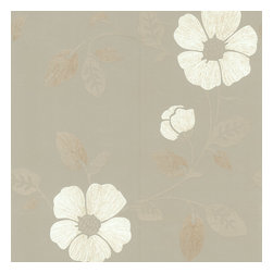Brewster - Maddison Pewter French Floral Wallpaper - With soft hues and modern style, this floral is refined, not fussy. Elegant wall covering, pre-pasted for ease of application, makes a perfectly subtle statement in your favorite setting.