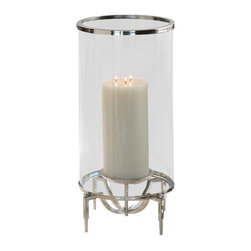 Elevated Hurricane - Medium - A pillar candle sits neatly in a deliciously complex architectural support, shielded by a cylinder of nickel-rimmed clear glass, in the Elevated Hurricane tabletop candle holder. Constructed with four dramatically-angled legs that join to raise the candle on a sleek metal cup, this hurricane lantern is a neat and polished indoor element that looks elegant in your decor whether the candle is lit or not. Place in a row with the larger and smaller versions for a glamorous effect.
