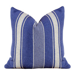 PillowFever - Navy Blue Pillow in Off White Stripes Cotton Navy Blue Pillow - Pillow insert is not included!-Fabric is  cotton blend, soft to touch and yet very durable.