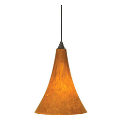 Tech Lighting - MOMelrose Pend lg amb, ch - Gracefully shaped glass shade, richly layered in brilliant frit, with machined top detail. Includes lowvoltage, 50 watt halogen bipin lamp or 6 watt replaceable LED module and six feet of fieldcuttable suspension cable.