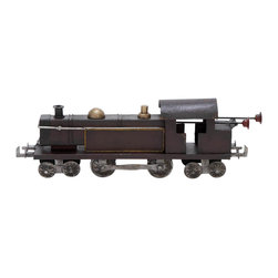 Benzara - Metal Locomotive 19in.W, 6in.H Unique Home Accents - Made with cast iron alloy and silver alloy Size: 19 in. x3 in. x6 in.