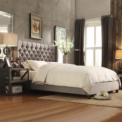 INSPIRE Q Naples Gray Linen Wingback Button Tufted Upholstered Bed -