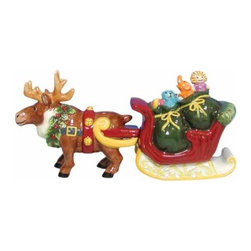 WL - 2.75 Inch Brown Reindeer and Red Sleigh Standing Salt and Pepper Set - This gorgeous 2.75 Inch Brown Reindeer and Red Sleigh Standing Salt and Pepper Set has the finest details and highest quality you will find anywhere! 2.75 Inch Brown Reindeer and Red Sleigh Standing Salt and Pepper Set is truly remarkable.