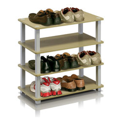 Furinno - Furinno 13081 Turn-S-Tube 4-Tier Shoe Rack, Steam Beech/White - This series is designed to meet the demand of fits in space, fits on budget and yet durable and efficient furniture. It is proven to be the most popular RTA furniture due to its functionality, price, and the no hassle assembly. The DIY project in assemblying these products can be fun for kids and parents. There are no screws involved, thus it is totally safe to be a family project. Just turn the tube to connect the panels to form a storage shelf. The materials comply with eco-friendly E1 grade particle board for furniture processed from parts of rubber trees. There is no foul smell of chemicals, durable and it is the most stable particleboard used to make RTA furniture.