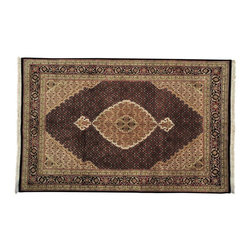 1800GetARug - Oriental Rug Hand Knotted Rug Wool and Silk Pitch Black Tabriz Mahi Sh13066 - About Wool Pile