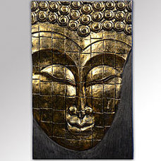 Irrigation Equipment Rain Tree Wood Antique Gold Buddha Face Wall Hanging (Indonesia)