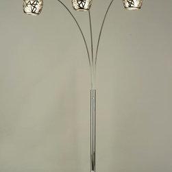 NOVA Lighting - Bird's Nest Arc Lamp - Birds Nest, Arc Lamp-Chrome,White Marble, Chrome, White Linen Shade