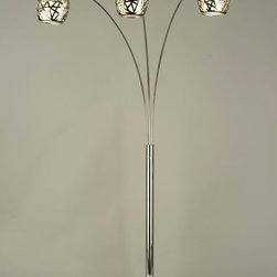 NOVA Lighting - Bird's Nest Arc Lamp - Birds Nest, Arc Lamp-Chrome,White Marble, Chrome, White Linen Shade