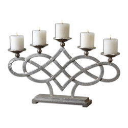 Adala Silver Pillar Candelabra - *Wrapped Metal With A Bright Silver Finish