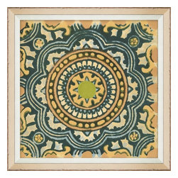 Wendover Art - Garden Tile Yellow - This elegant Giclee on Paper print adds a bit of flare to any space. A beautifully framed piece of art has a huge impact on a room for relatively low cost! Many designers and home owners select art first and plan decor around it or you can add artwork to your space as a finishing touch. This spectacular print really draws your eye and can create a focal point over a piece of furniture or above a mantel. In a large room or on a large wall, combine multiple works of art to in the same style or color range to create a cohesive and stylish space!