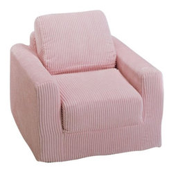 "Fun Furnishings - Fun Furnishings Chenille Chair Sleeper in Pink - Pink micro Suede-teen chair by fun furnishings. Teen chair. This comfortable versatile sleeper chair is a big hit with teens and young teens. It is a sturdy yet light weight chair for their rooms and jus the thing for friends spending the night. Flip out the chair to make an instant sleeper 64"" inches long. Put two or more chairs together side by side to make a sectional. The possibilities are endless! it should be noted that while this chair is large enough to seat many older teens the fold out bed is 64 inches ( 5� 4"" ) long. Built-in durability. We've worked hard to make our furniture durable and help it retain its appearance. We use high-density foam to make the furniture hold up to the tough use it receives from kids. We include a layer of fiber on the seating surfaces to keep the fabric tight much longer."