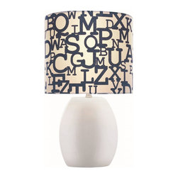 Lite Source - Lite Source Reiko Kids Table Lamp XSL-THW60512 - From the Reiko Collection, this Lite Source kids lamp features an alphabet-printed fabric shade in hues of navy blue and white. The elliptical shade has been paired with a ceramic body on this kids table lamp. It features a clean and versatile White finish that is ideal for kids rooms, nurseries, playrooms and more.