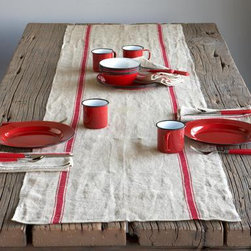Provence Table Runer - This linen table runner looks like it has been in your family for generations, but it's still a modern charmer for today. And how can you go wrong with simple stripes?