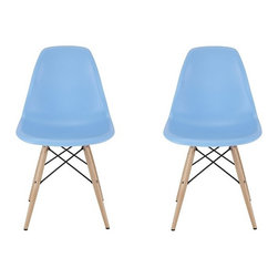 Ariel - Set of 2 Eames Molded Light Blue Plastic Dining Shell Chair W/Wood Eiffel Legs - Instantly turn your living quarters into a place for comfortable relaxation with this beautiful 2 dining chair set. Constructed of heavy duty polypropylene seats in matte finish, this stylish chair set is perfect for the home office, training room, or play area. Available in white, black, or light blue.