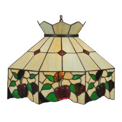 Meyda Tiffany - Meyda Tiffany Pendants Pendant Lighting Fixture - Shown in picture: Meyda Apple Pendant; Bite Into This Delightful Stained Glass Shade Bordered With Ripe Luscious Three Dimensional Crimson Apples With Grass Green Leaves And Sparkling Bark Brown Accents. Enhance You Home With This Meyda Tiffany Original Classic Design On A Cream Background With Brown Granite Diamonds. The Chain And Canopy Are Hand Finished In Mahogany Bronze.; Smallest height shown - expandable from 15.5-50.5.